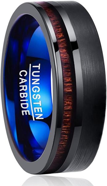 8mm Koa Wood Inlay Tungsten Carbide Wedding Band Black Brushed Promise Ring Flat Edge Comfort Fit Size 7-12