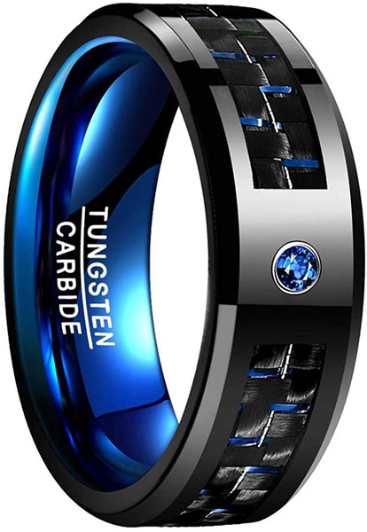 8mm Men's Black and Blue Tungsten Carbide Rings with CZ Inlay Carbon Fiber Wedding Band Beveled Edge Comfort Fit Size 6-15