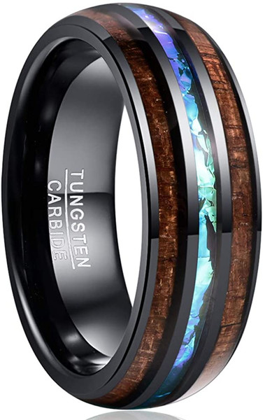 8mm Hawaiian Koa Wood and Abalone Shell/ Black Imitated Opal Inlay Tungsten Carbide Rings Wedding Bands for Men Comfort Fit Size 4 to 17