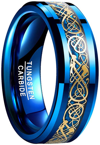 8mm Mens Celtic Dragon Tungsten Carbide Wedding Band Blue Carbon Fiber Engagement Ring Size 5-14