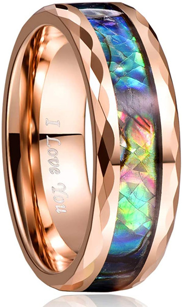 8mm Abalone Shell Tungsten Rose Gold Carbide Rings Unisex Wedding Bands Faceted Edge Comfort Fit Size 5-14