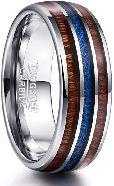 8mm Domed Hawaiian Koa Wood and Blue Imitated Meteorite Inlay Tungsten Carbide Wedding Band Comfort Fit Size 7-12