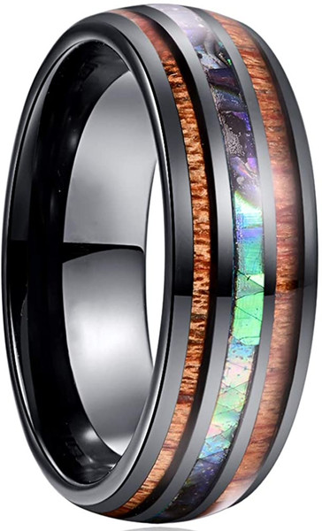 8mm Hawaiian Koa Wood and Abalone Shell/Imitated Opal Inlay Tungsten Carbide Rings Wedding Bands for Men Comfort Fit Size 4 to 17