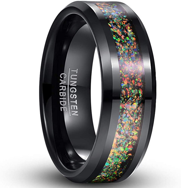 8mm Colorful Opal Inlay Tungsten Ring Black Wedding Band Engagement Ring for Men Women Comfort Fit Size 5-12