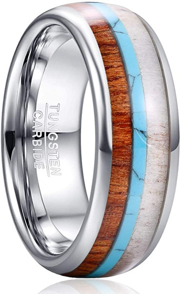 8mm Men's Tungsten Carbide Ring Deer Antler Turquoise Koa Wood Inlay Comfort Fit Size 7-12