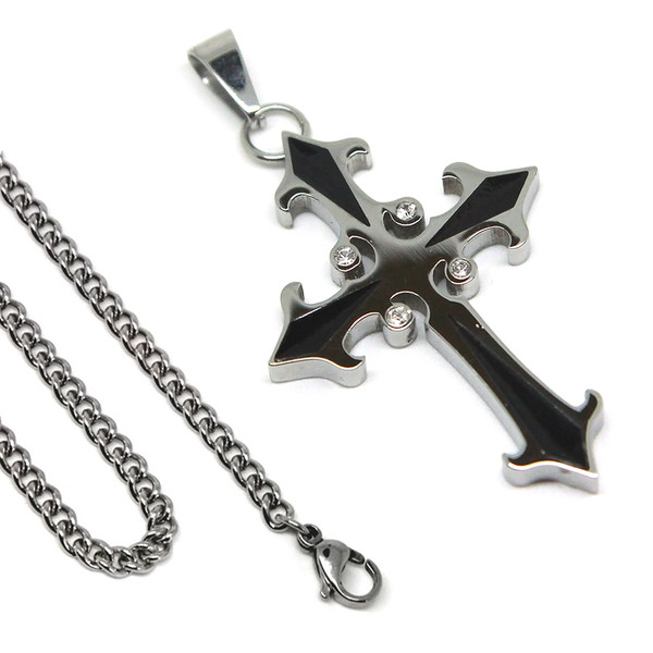 Stainless Steel Mens Cross Necklace 24 Inch 6.5mm Curb Chain Religious Pendant with Cubic Zirconia Stones