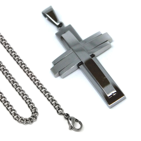 Stainless Steel Mens Cross Necklace 24 Inch 6.5mm Curb Chain Stylish Fashion Pendant