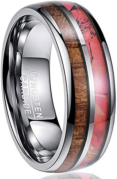 8mm Dome Red Tungsten Ring Inlaid with Hawaiian Koa Wood and Camouflage Comfort Fit Size 7-12