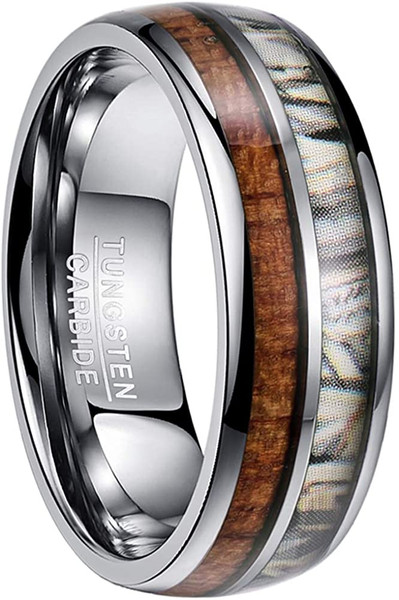 8mm Dome Grey Tungsten Ring Inlaid with Hawaiian Koa Wood and Camouflage Comfort Fit Size 7-12
