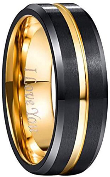 Men's 8mm Tungsten Carbide Ring Gold & Black Matte Finish Beveled Edge Wedding Band Size 4 to 17