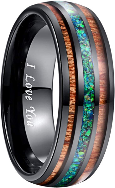Handmade Crushed Marine Opal Tungsten Wedding Ring with Hawaii Koa Wood Domed Black Size 5-14