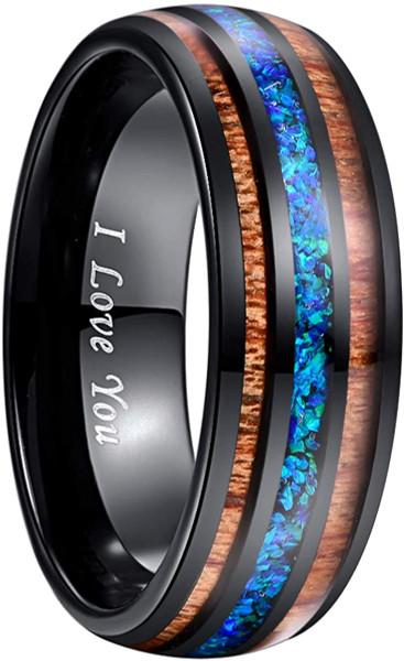 Handmade Crushed Blue Opal Tungsten Wedding Ring with Hawaii Koa Wood Domed Black Size 5-14