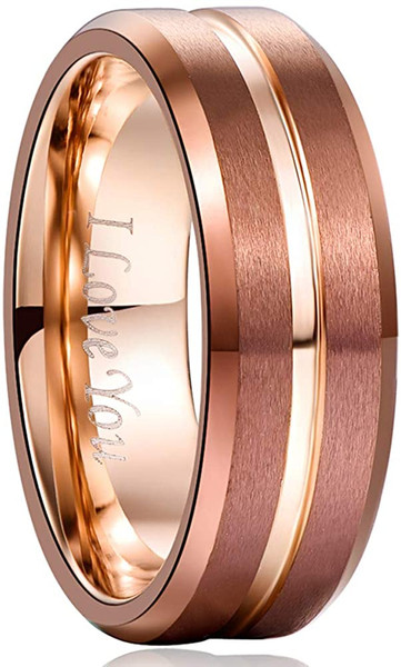 Men's 8mm Grooved Brown and Rose Gold Tungsten Carbide Ring Matte Finish Beveled Edge Wedding Band Size 6 to 14
