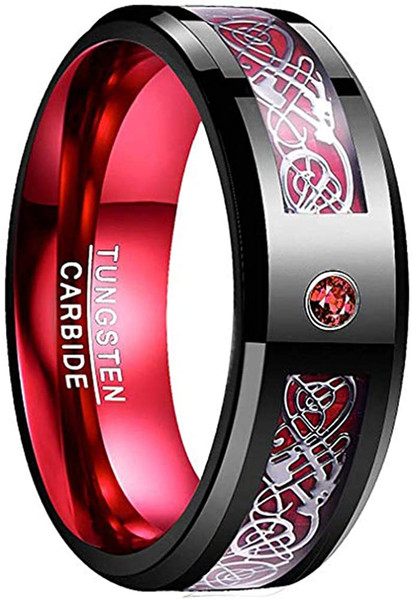 Men's 8mm Tungsten Carbide Ring Celtic Dragon Red Carbon Fiber and Cubic Zirconia Inaly Size 6-16