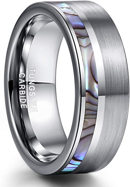 Men's 8MM Natural Abalone Shell Tungsten Carbide Ring Brushed Finish Polished Center Flat Edges Comfort Fit Size 7 to 12