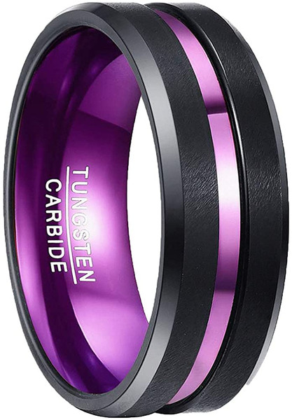 Purple Tungsten Ring for Men 8mm Center Grooved Black Matte Finish Beveled Edge Size 7 to 12