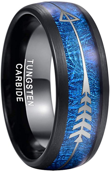 Men's 8mm Tungsten Wedding Ring Black with Blue Imitated Meteorite and Arrows Inlay Hunting Band Size 7 to 12