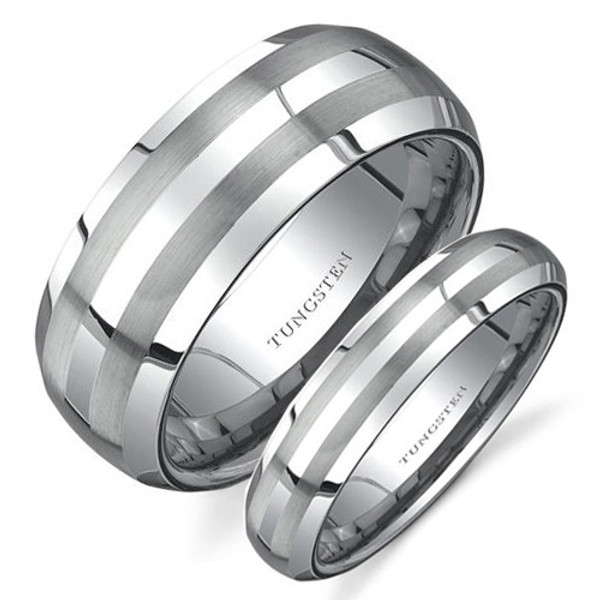 Tungsten Wedding Band Set, Double Brush Line, Domed, Bevel Edge, 8MM and 5MM