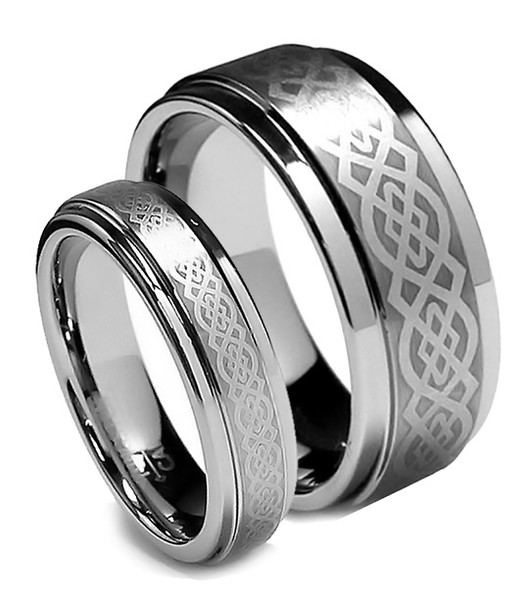 Tungsten Wedding Band Set, Flat Top Celtic Design, Step Edge, 8MM and 6MM