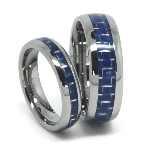 Tungsten Wedding Band Set, Blue Carbon Fiber Inlaid, High Polish Finish, 8MM and 6MM