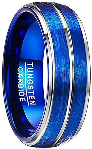 Men's 8mm Blue Domed Tungsten Carbide Rings Hammered and Brushed Finish Wedding Bands Step Edge Comfort Fit Size 7-12