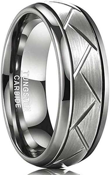 8mm Men's Domed Diagonal Grooves Tungsten Carbide Rings Silver Grey Brushed Wedding Band Comfort Fit Size 7-12
