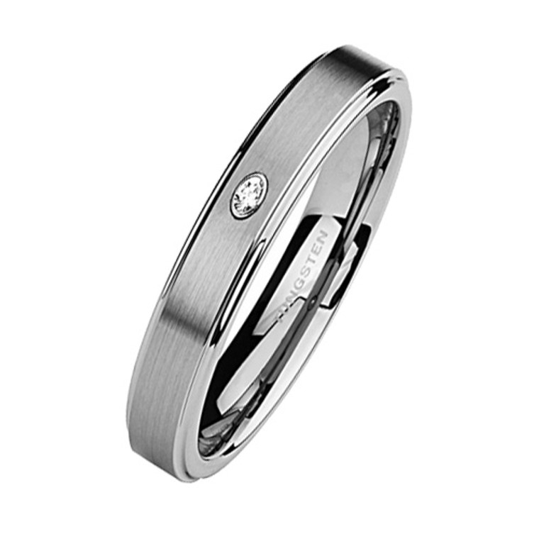 Tungsten Ring for Women, Classy Ring with CZ Stone, High Polish Step Edge, 5MM