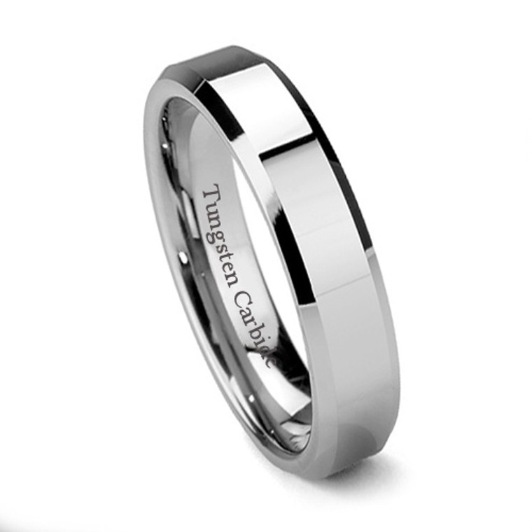 Tungsten Ring for Women, Classy Wedding Band, High Polish, Bevel Edge, Flat Top, 6MM