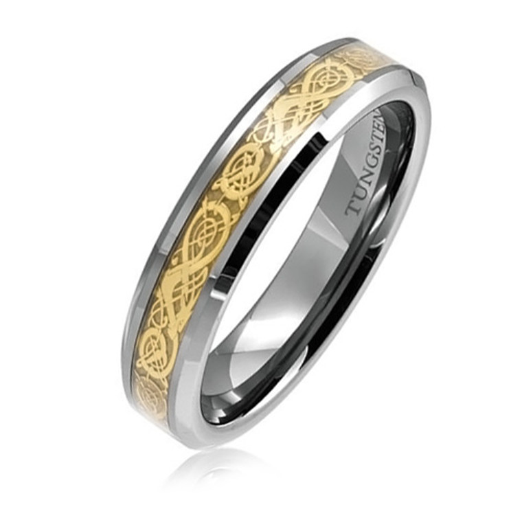 Tungsten Ring for Women, Fashion Wedding Band with Golden Dragon Inlaid, 6MM