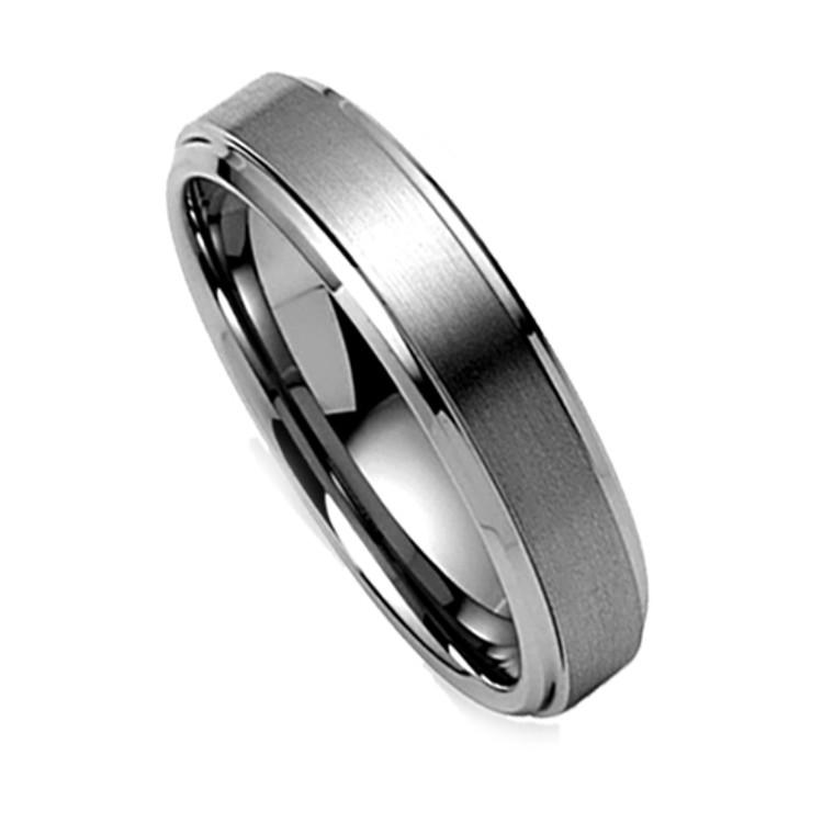 Tungsten Ring for Women, Classy Brush Matte Ring, High Polish Bevel Edge, 6MM