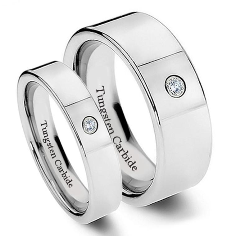 Tungsten Wedding Band Set, Chrome Finish, Stylish Design with CZ Stone, 8MM and 6MM