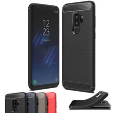Slim Samsung Galaxy S9 Plus S9+ Carbon Fibre Soft Case Cover Skin G965
