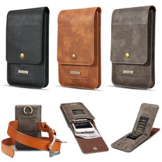 Universal Leather Wallet Pouch Belt Bag with Metal Hook 11x Card Slots