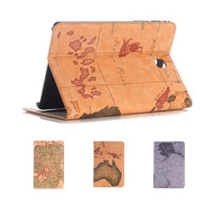 """Samsung Galaxy Tab A7 10.4"""" T500 T505 World Map Leather Case Cover A 7"""