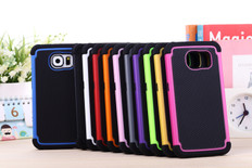 Hybrid Rubber Heavy Duty Hard Case Cover For Samsung S6 2in1