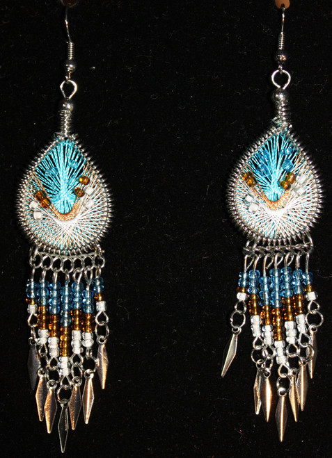Aqua-Tan-White Beaded Dreamcatcher Earring