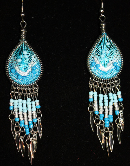 Aqua-White Beaded Dreamcatcher Earrings