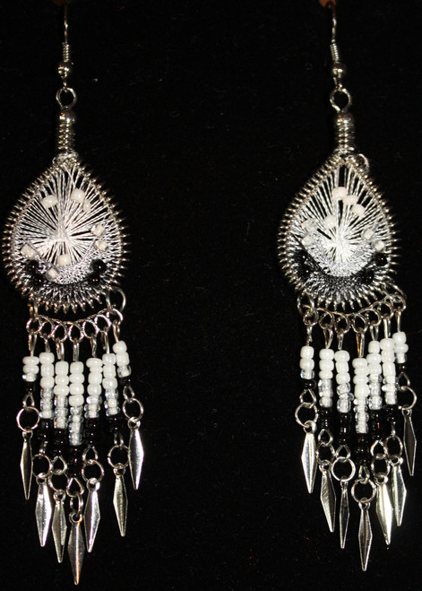 Black & White Beaded Dreamcatcher Earrings