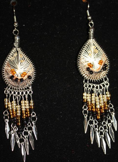 Tan-Black-White Beaded Dreamcatcher Earrings