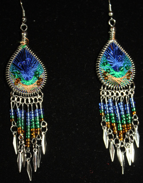 Blue-Tan-Green Beaded Dreamcatcher Earrings