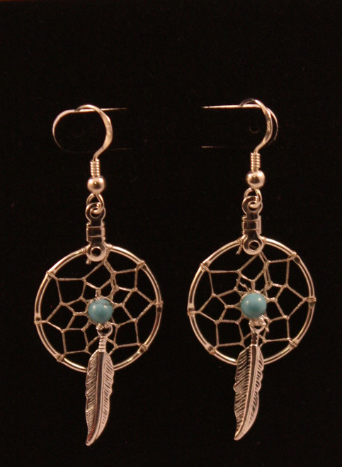 Dream Catcher Earrings with Turquoise