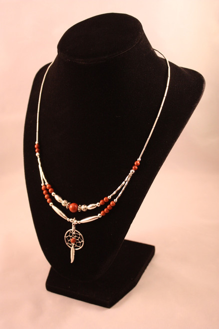Dream Catcher Necklace with Red Jasper