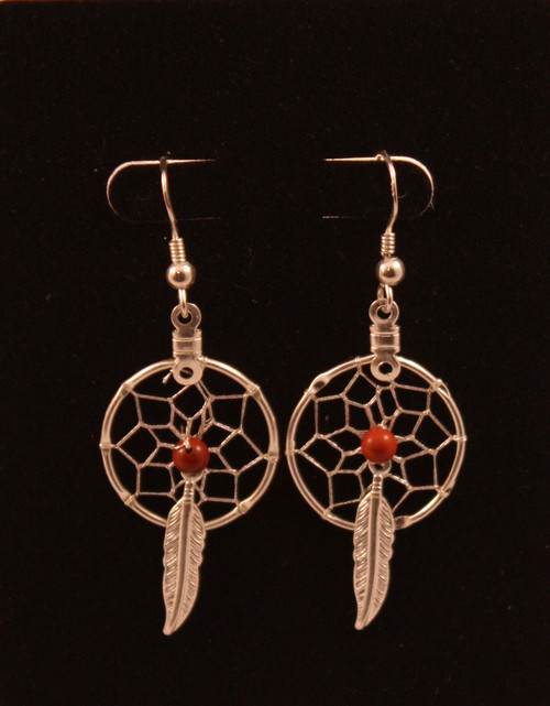 Dream Catcher Earrings with Red Jasper