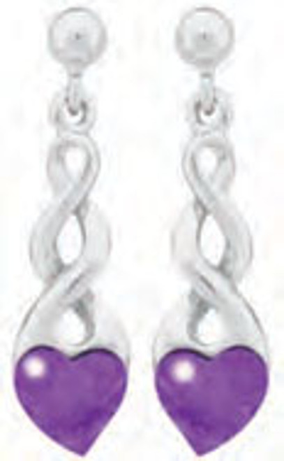 Lab Charoite Heart with Metal Twist Earrings