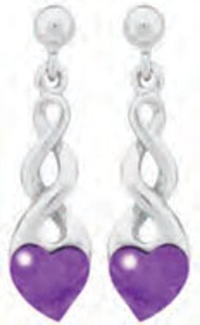 Lab Charoite Heart with Metal Twist Earrings