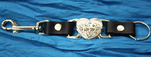 Leather Key Chain with Heart - Black