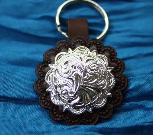 Leather Key Chain with Concho- Brown