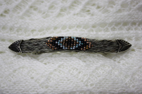 Horse Hair Barrette with Beads- Grey