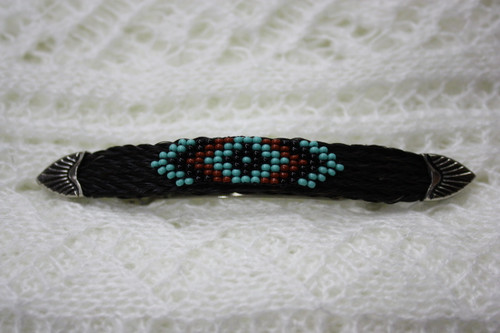Horse Hair Barrette with Beads Black/ Turq
