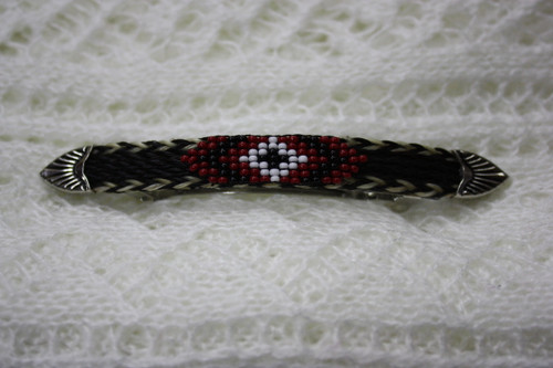 Horse Hair Barrette with Beads- Black/Red